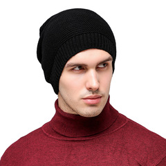 Men's Knit Hat Outdoor Black Wool Hat Monochrome Hat Without Brim Dome Stripe Pullover Hat black one   size