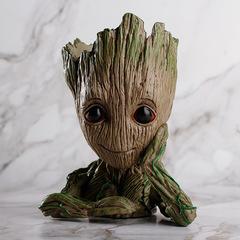 NewBing Flowerpot Treeman Heart Shaped Groot Cute Green Plants Flower Pot with Hole Pen Holder Face one   size