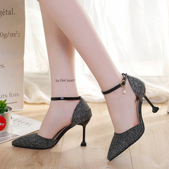PU High Heel Pointed Female Sandals Sequins Stiletto Bag With A Word Buckle Women's Shoes black 34