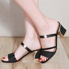 PU Two Sandals Women's Open Toe Sequins Sandals And Slippers Women's Thick With High Heels black 35