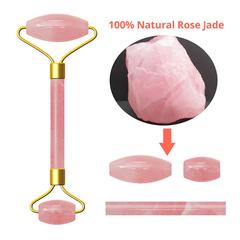 Natural Rose Quartz Jade Roller Massage Face Lift Tools Real Green Jade Face Roller Facial Massager pink