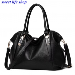 sweet life Womens Ladies Handbag Tote Bag Large Capacity  Fashion Classic Elegant PU Leather black one size
