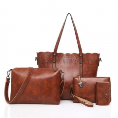 sweet life Womens Ladies Handbag 4PCS Set Large Capacity Classic Elegant Vintage Hollow Out Leather brown one size