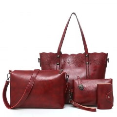 sweet life Womens Ladies Handbag 4PCS Set Large Capacity Classic Elegant Vintage Hollow Out Leather red one size