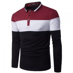 Color Block  Men Clothes Striped Polo Shirt T-shirt Long Sleeve Collar Cotton Shirt for Men red white black m cotton