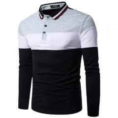 Color Block  Men Clothes Striped Polo Shirt T-shirt Long Sleeve Collar Cotton Shirt for Men grey white black m cotton