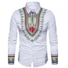 Geometric National Print Long Sleeve Shirt For Men white m