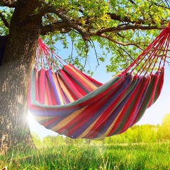 New Travel Camping Household Garden Use Hammock Colored Stripe Hammock Single Canvas Hammock Sleep red