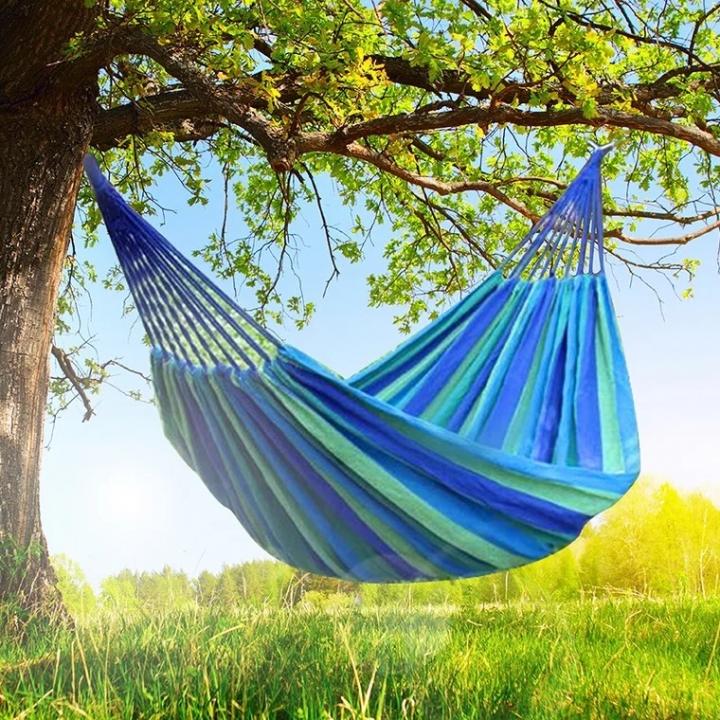New Travel Camping Household Garden Use Hammock Colored Stripe Hammock Single Canvas Hammock Sleep blue
