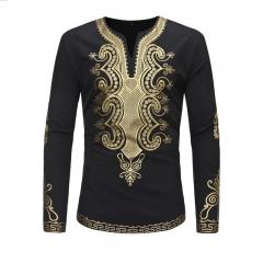 Mens Shirt African National Style Printing Long Sleeve Shirt black m