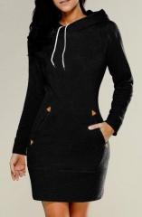 Dress Over Knee Hooded Bodycon Long Sleeve Dress S Black
