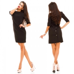 Hot Sale Popular Fashion Plus Size Women's Dress Back Button Style s black