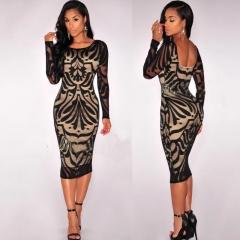 Women Fashion Casual Sexy Dress Long Sleeve Stretch Bodycon Party Dress s black