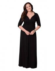 Plus Size Women's Dress Sexy V Neck Noble Elegant Design Elastic Flexible L XL XXL XXXL l black