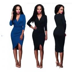 Women's Dress Hot Sale New Fashion V neck Long Sleeve Sexy Bodycon dresses Officer Lady s black