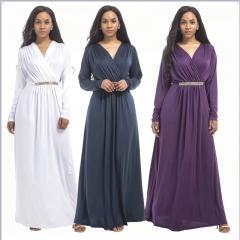 Women's Dress Hot Sale New Fashion Plus Size V Neck Long Sleeve Noble and  Elegant Party Dress m black