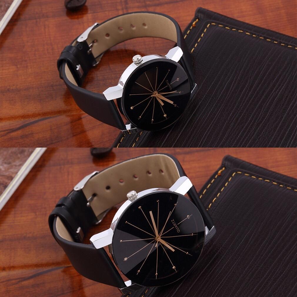 Men Women Wrist Watch Fashion Casual PU Leather Strap Round Dial Couples Quartz Sport Wristwatches black-for wowan 30