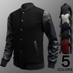 New Fashion Mens Jacket Coat leather mix cotton Splicing Design Casual Leisure Sports jacket black m