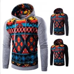 New Men Fashion Hoodies Sweatshirts Jacket Coat Geometric Figure Printing Long Sleeve black M