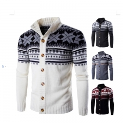 New Fashion Men's Clothes Knitted Sweater Cardigan Casual National Style Color Coat black m