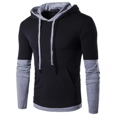 New Fashion Casual Men Hoodies Sweatshirts Coat Geometric Colorblock Long Sleeve Sports clothes black m