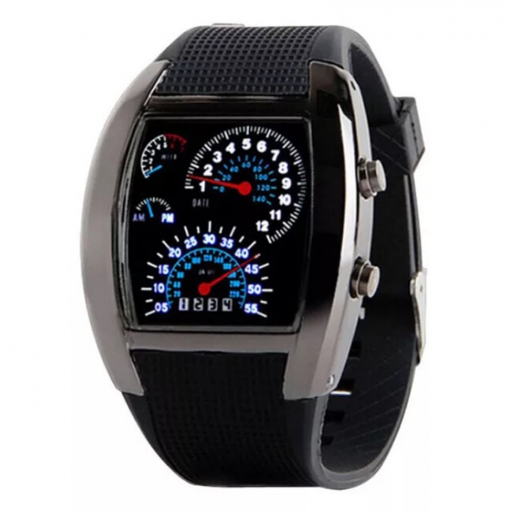 Fashion Smart Watch LED Wrist Watch Digital Creative Dashboard Sport Wristwatch For Men Women black one size