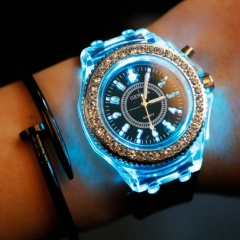 LED Luminous Fashion Wrist watch Shiny Rhinestone Outdoor Women Men colorful Sports WristWatches white