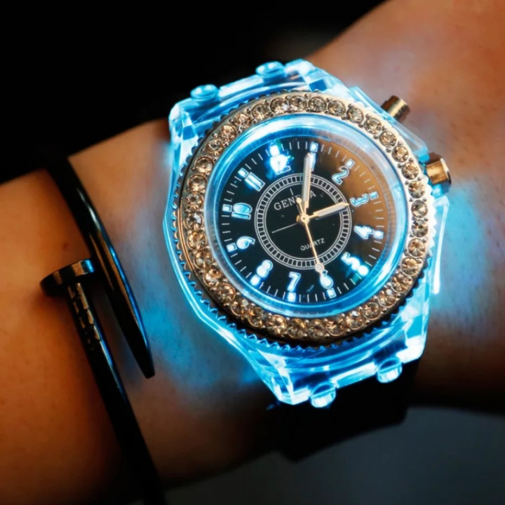 LED Luminous Fashion Wrist watch Shiny Rhinestone Outdoor Women Men colorful Sports WristWatches white