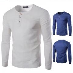 New Fashion Mens Casual Shirt Long Sleeve T-shirt white m cotton
