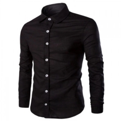 New Fashion Mens Casual Shirt Long Sleeve T-shirt Plus Size black m