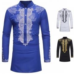 New Fashion Mens Noble Medium Long Style Classic Printing Shirt Long Sleeve T-shirt Plus Size black m