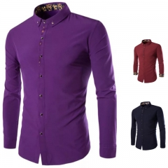 New Fashion Mens Shirt Unique Embroidery Design Gentlemen Long Sleeve dark blue m