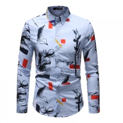 New Fashion Mens Shirt Fashion Printing Gentlemen Long Sleeve Plus Size one color as picture m