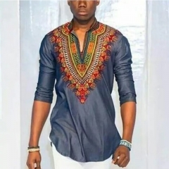 New Fashion Mens Shirt National Casual Style Exquisite Plus Size one color as picture m
