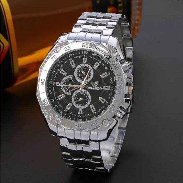 Fashion Wrist Watch Men Male Luxury Quartz Stainless Steel Wristwatches Gentlemen Valentines Gift black one size