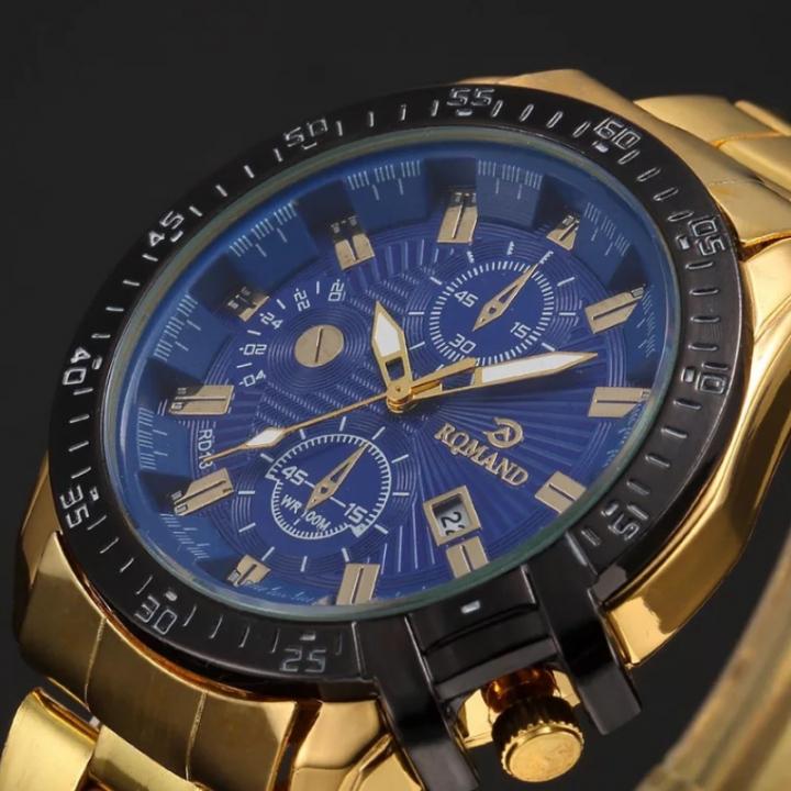 Fashion Wrist Watch Luxury Quartz Stainless Steel Wristwatches For Men Valentines Gift blue one size