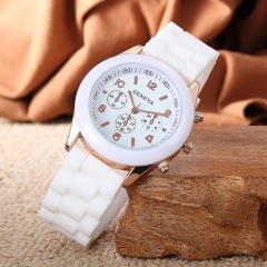 GENEVA Brand Womens Fahion Casual Wrist Watch Silica Watchband Quartz Wristwatch white