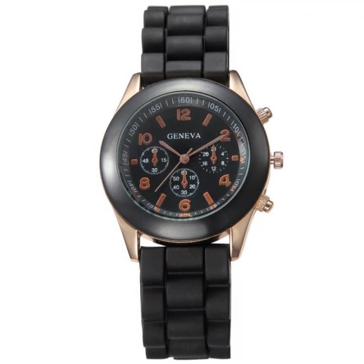 GENEVA Brand Womens Fahion Casual Wrist Watch Silica Watchband Quartz Wristwatch black