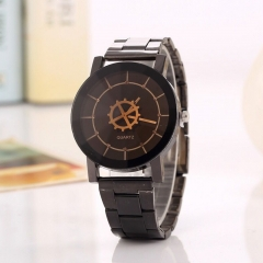 Men Women Fashion Wrist Watch Casual Design Alloy Strap Round Dial Couples Quartz Wristwatch black-for wowan