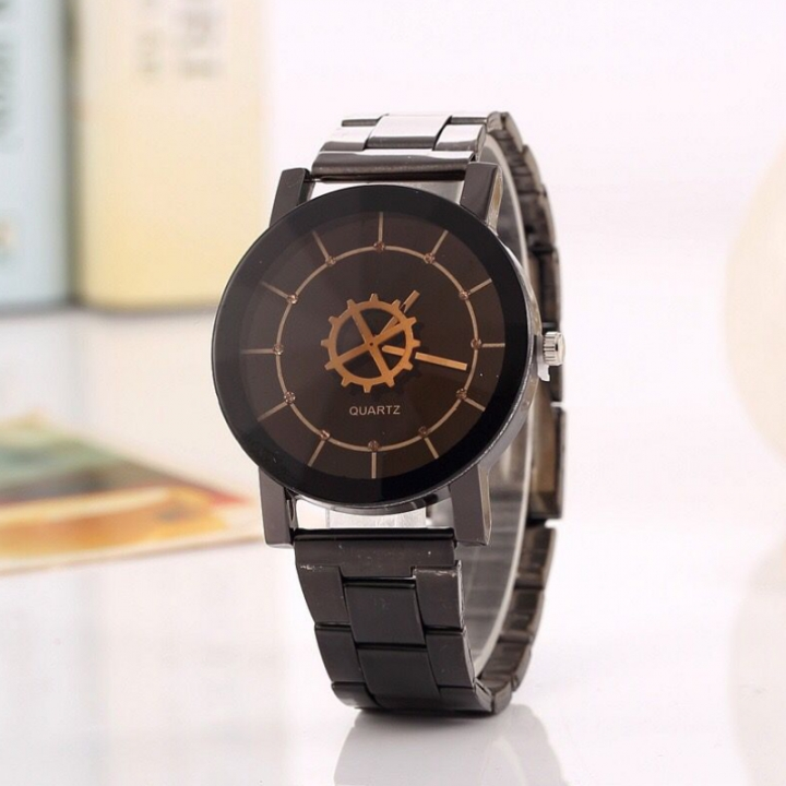 Men Women Fashion Wrist Watch Casual Design Alloy Strap Round Dial Couples Quartz Wristwatch black-for man