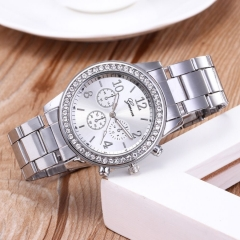 GENEVA Brand Fashion Wrist Watch Women Rhinestone Wristwatches Ladies Classic Luxury Quartz Watches silver