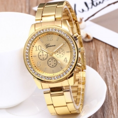 GENEVA Brand Fashion Wrist Watch Women Rhinestone Wristwatches Ladies Classic Luxury Quartz Watches gold
