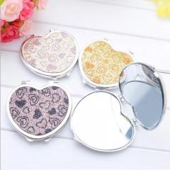 SL Portable Makeup Mini Mirror Womens Girl's Gift Cosmetic Shiny Cute Heart Design Pocket Mirror color random delivery