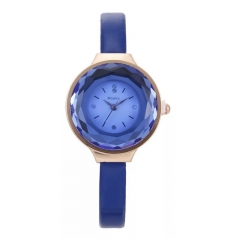 Mcykcy Brand Wrist Watch Women Fashion Crystal Diamend Rhombohedral Dial Design Quartz Wristwatch blue