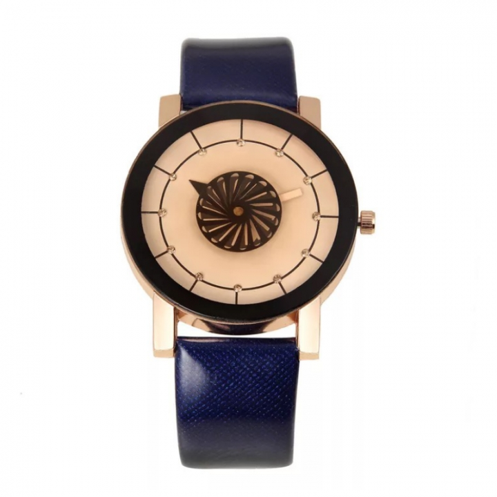 Fashion Wrist Watch Men Women Kaleidoscope Rhinestone Design PU Leather Watchband  Wristwatch white