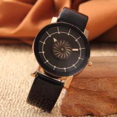 Fashion Wrist Watch Men Women Kaleidoscope Rhinestone Design PU Leather Watchband  Wristwatch black