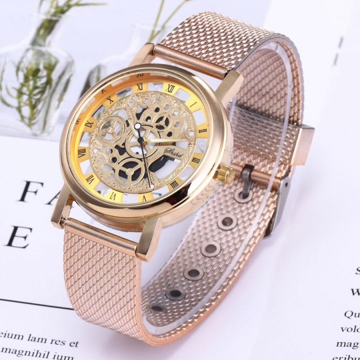 Fashion Wrist Watch Men Women Gear Design Simple Style Wristwatch Belt Watch rose  gold one size