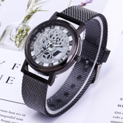 Fashion Wrist Watch Men Women Gear Design Simple Style Wristwatch Belt Watch black one size