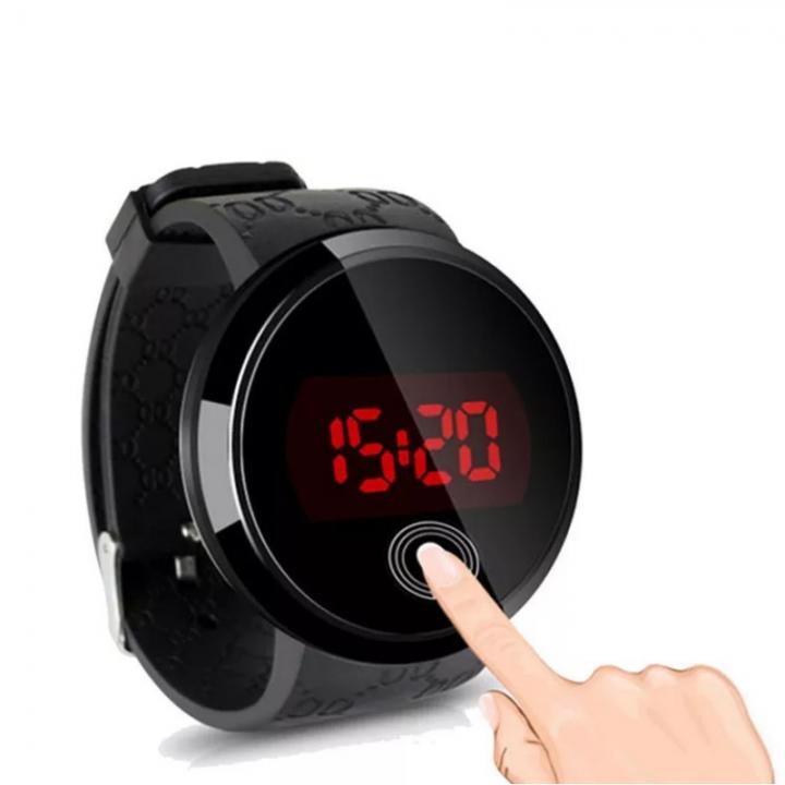 Smart Watch LED Digital Wrist Watch Sports Strap Round Dial Wristwatch For Men Women Children black one size