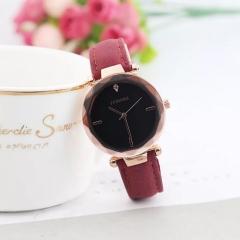 JUSHIKE Brand Fashion Wrist Watch Women Simple Fashion Design Round Dial Wristwatch red